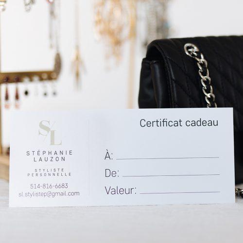 Certificat cadeau Stéphanie Lauzon Styliste